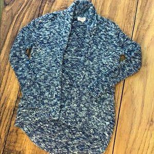 Little girl marled blue cardigan sweater jacket m